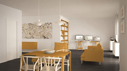 Nordic minimalist living room open space with dining table, sofa, corner office, home workplace with computers, contemporary modern gray and yellow interior design