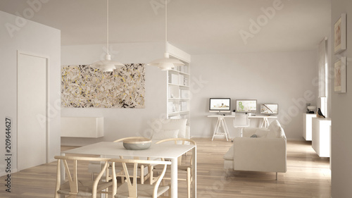 Nordic Minimalist Living Room Open Space With Dining Table, Sofa, Corner  Office, Home