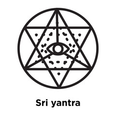Sri yantra icon vector sign and symbol isolated on white background, Sri yantra logo concept, outline symbol, linear sign