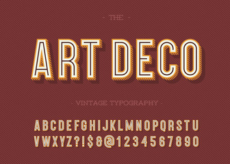 Art deco vintage typography. Alphabet modern. Retro font sans serif style for party poster, printing on fabric, t shirt, promotion, decoration, stamp, label. Cool bold 3d typeface. Vector 10 eps