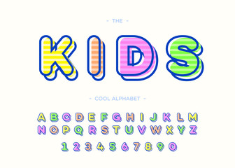 Kids cool alphabet modern typography. Font trendy colorful bold 3d sans serif style for t shirt, promotion, party poster, kids book, greeting card, sale banner, printing on fabric, decoration. 10 eps