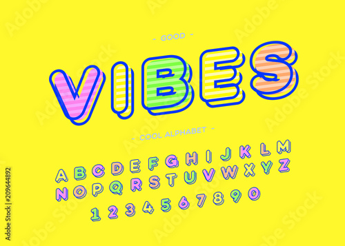 Vibes cool alphabet modern typography  Font trendy colorful