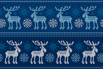 Winter Holiday Seamless Knitted Pattern with Elks and Snowflakes. Knitting Sweater Design. Wool Knitted Texture