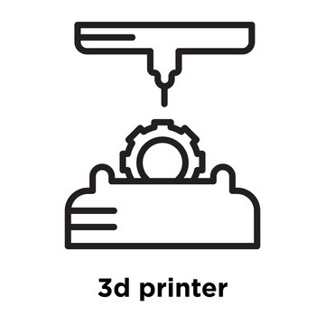 3d printer icon vector sign and symbol isolated on white background, 3d printer logo concept, outline symbol, linear sign