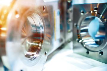 Metal vacuum equipment, polished shiny metal.