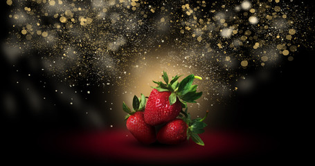 Abstract background with strawberries, magic, neon