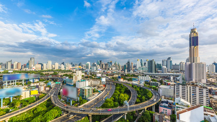Bangkok City with curve express way and skyline skyscraper, Bangkok cityscape, Thailand.