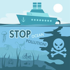 Ocean pollution concept. Stop the pollution of the ocean. Vector graphics to design.