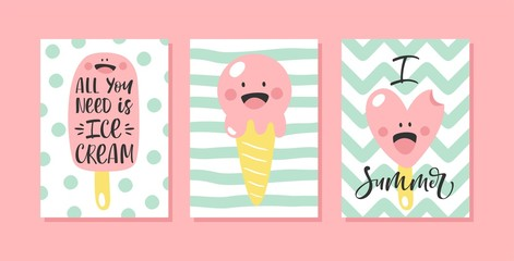 Set of cute summer cards with ice cream and hand written text. For birthday, anniversary, party invitations. Vector illustration.