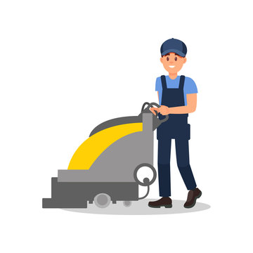 Smiling guy working with vacuum scrubber. Man in blue overall, cap and t-shirt. Flat vector for advertising banner of cleaning service