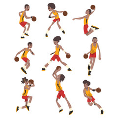 Basketball player set, athletes in uniform playing with ball vector Illustrations on a white background