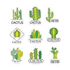 Cactus logo design set, desert plant green badges vector Illustrations on a white background