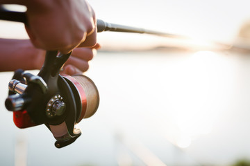 Fishing gear - fishing spinning, fishing line and sports equipment