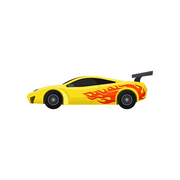 Bright yellow racing car with spoiler, tinted windows. Fast sports automobile with tongue of flame. Flat vector for mobile game