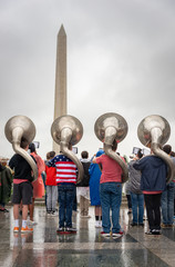 Sousaphone players in marching band