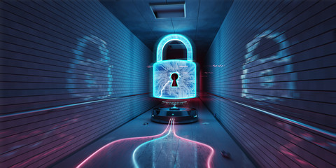 Underground cyber security hologram with digital padlock 3D rendering