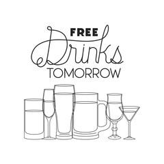 free drinks set icons vector illustration design