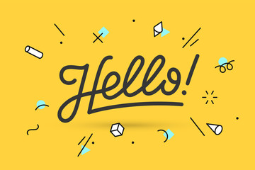 Hello. Lettering for banner, poster and sticker concept with text Hello. Icon message Hello on white background, geometric memphis style. Calligraphic simple logo. Vector Illustration Wall mural