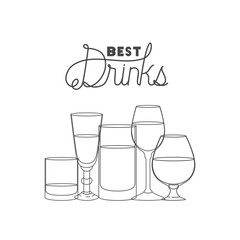 best drinks set icons vector illustration design