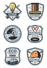 lectrical service retro icon of electricity supply