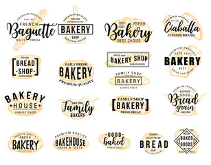 Bakery hand drawn lettering icon with bread sketch