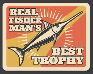 Fishing sport banner with fisherman trophy fish