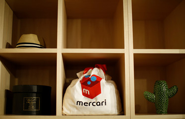 Novelty goods are displayed at Mercari's Tokyo headquarters in Tokyo