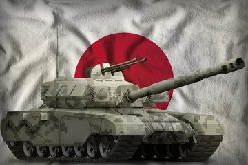 heavy tank with city pixel camouflage on the Japan national flag background. 3d Illustration