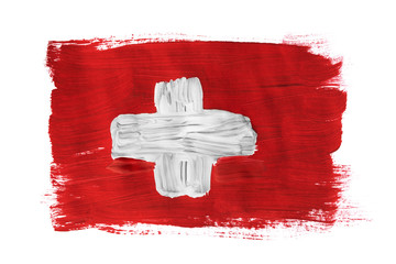 Painted Swiss flag isolated