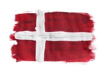 Painted Danish flag isolated