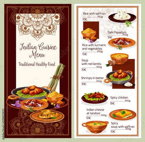 Indian Cuisine Restaurant Menu Template Design