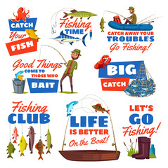 Fishing sport icon with fisherman and fish catch