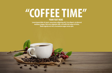 Hot coffee cup with fresh organic red coffee beans and coffee roasts on the wooden table and the black background with copyspace for your text.