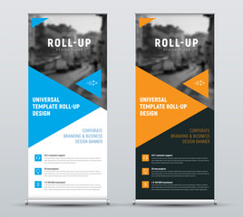 design of roll-up banners with blue and orange triangles and a place for photos.