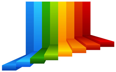 A Colourful Stairway on White Background