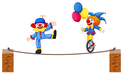 A Circus Clown Show on White Background