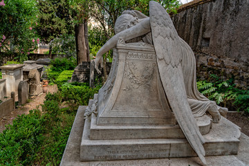 Fallen angel tomb grave in Rome Acatholic cemetery