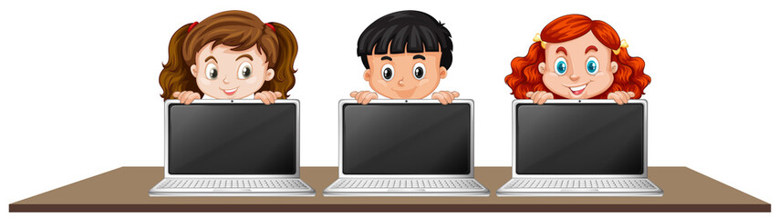 Children with Laptop on White Background