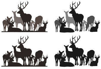 Wall Mural - silhouettes of a herd of deer. Different options for your design. Isolated objects