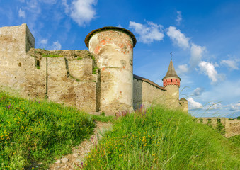 Part of southern side of medieval Kamianets-Podilskyi fortress, Ukraine