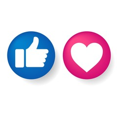 3D Thumbs up and heart icons on a white background. Blue and red icon, social media icon, empathetic emoji reactions