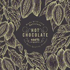 Cocoa bean tree banner template. Chocolate cocoa beans frame. Vector hand drawn illustration. Vintage style background.