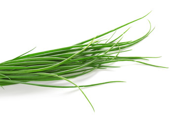 Bunch of fresh green onion on white background