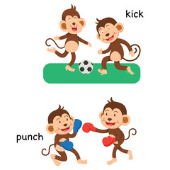 Opposite kick and punch vector illustration