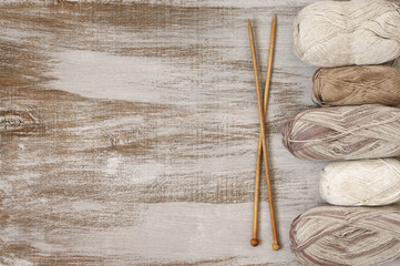 Cotton and linen yarn with needles