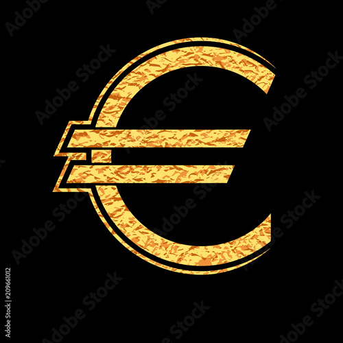 The Gold Euro Money Symbol Vector Graphic Design Stock Image And