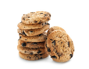 Delicious cookies with chocolate chips on white background