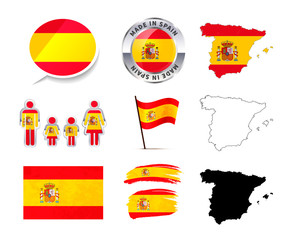 Large set of Spain infographics elements with flags, maps and badges on white