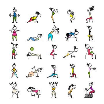 Girls doing sport exercises, sketch for your design