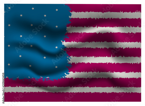 stylized american flag is fluttering for wallpaper paper